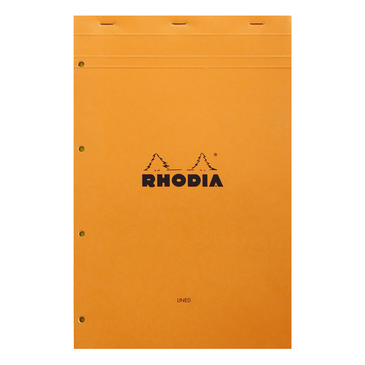 Bloc agrafé Rhodia ORANGE Yellow 21x31,8cm 80F ligné+marge 80g