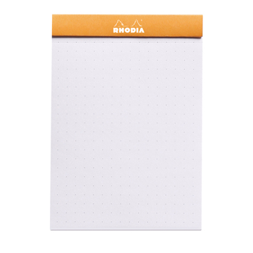 dotPad Rhodia ORANGE N°12 8,5x12cm 80F agrafées 80g | matrice points 5mm